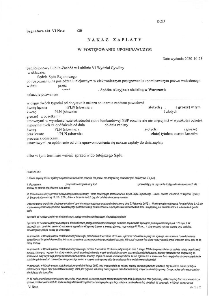 nakaz zapłaty z eSądu - materiał szkoleniowy do napisania sprzeciwu od nakazu zapłaty