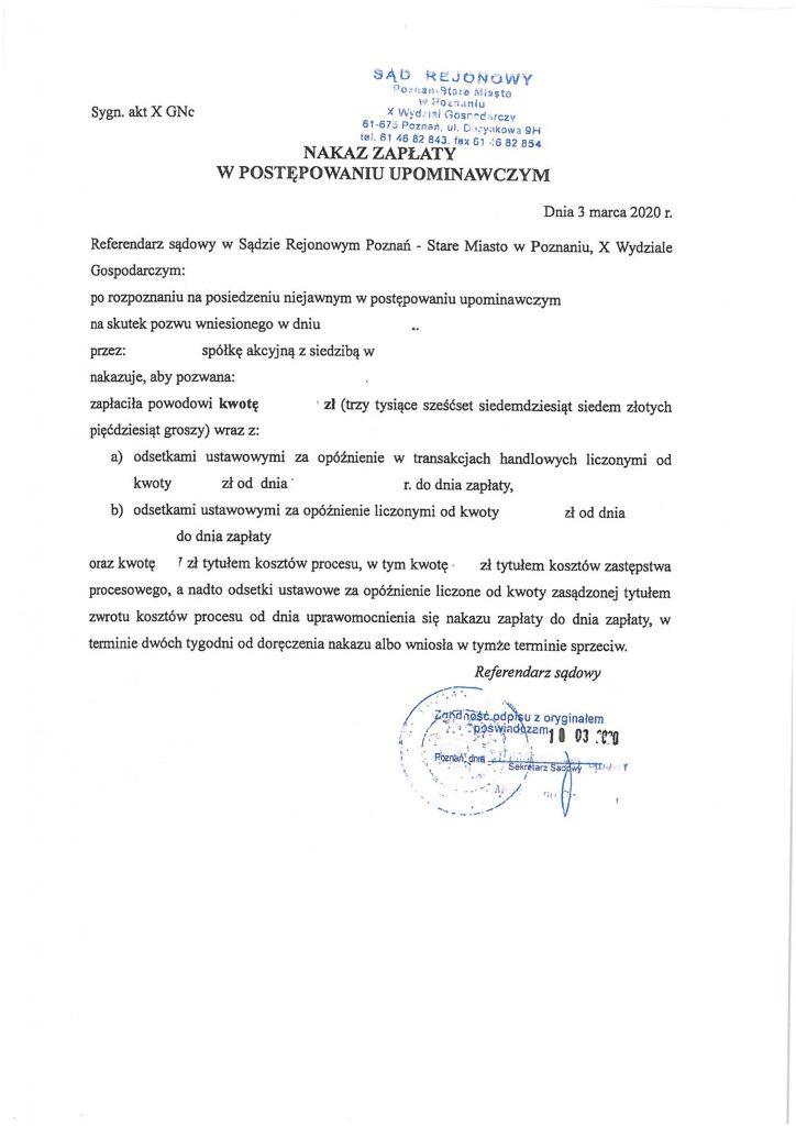 nakaz zapłaty - materiał szkoleniowy do napisania sprzeciwu od nakazu zapłaty
