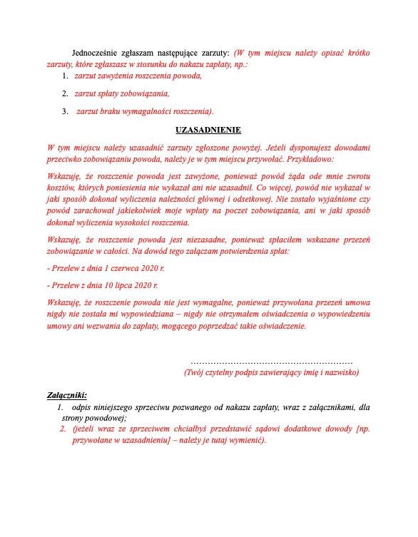 Sprzeciw od nakazu zapłaty bez formularza - strona 2 - podgląd