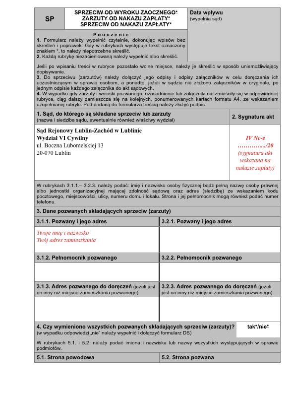 Sprzeciw od nakazu zapłaty na formularzu - strona 1 - podgląd