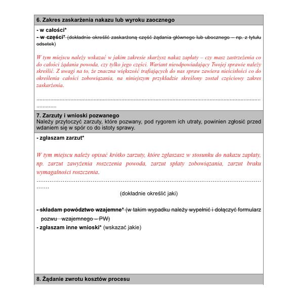 Sprzeciw od nakazu zapłaty na formularzu - strona 3 - podgląd