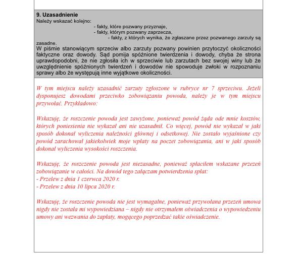 Sprzeciw od nakazu zapłaty na formularzu - strona 4 - podgląd